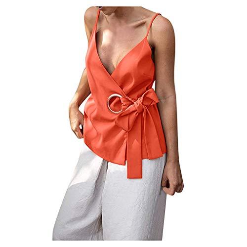 Floweworld🍒 Solider ärmelloser Tank mit V-Ausschnitt für Frauen, lässige Sommer-Sling-Top-Krawatte, schlanke, sexy Bluse, einfaches T-Shirt mit neuartigem Hemd, einfache T-Shirt-Bluse