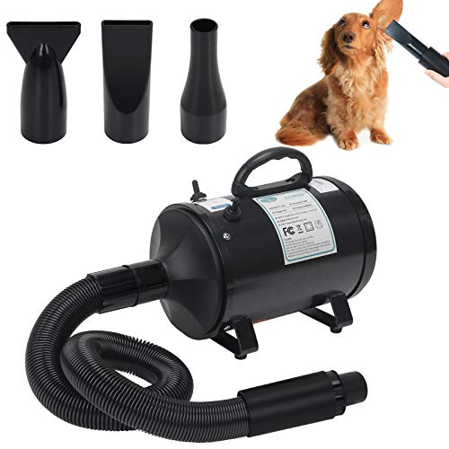 Winniehome Professional Pet Hair Force Dryer Dog Grooming Blower with Heater, Spring Hose, and 3 Different Nozzles,3.2HP Pet Dryer Dog Hair Dryer(Matte Black)