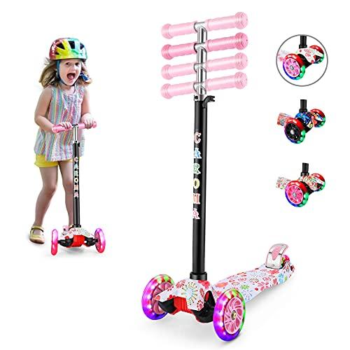 Caroma Monopattino Bambina con Ruote luminose a LED in PU, Monopattino con altezza regolabile e doppia ruota posteriore Ruote grandi Monopattino per bambini per ragazze e ragazzi 3-12 anni