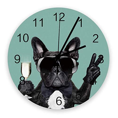 Home Reloj de Pared Redondo de Madera Vintage silencioso de 10 Pulgadas, Perro con Copa de Vino, fácil de Leer y Funciona con Pilas, Reloj Que no Hace tictac para Oficina / Cocina / Dormitorio / Sala