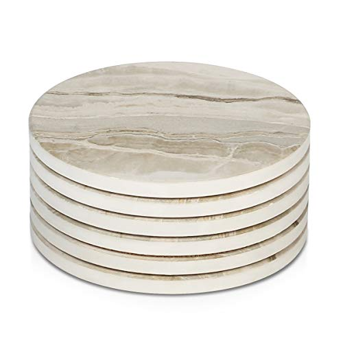 LIFVER Drink Coasters 6 Pieces Ceramic, Absorbent Coasters for Drinks,Stone Style Coaster Set with Cork Base for Wooden Table,Housewarming Gift for Friend