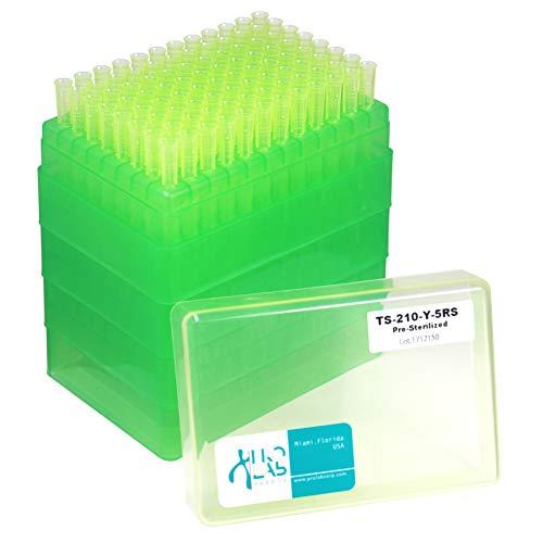 Extragene Universal 200ul Pipette Tips, Stack Racks, Sterile, DNase/RNase Free & Pyrogen Safe, Yellow 96 Tips/Rack, Pk x 5 Racks
