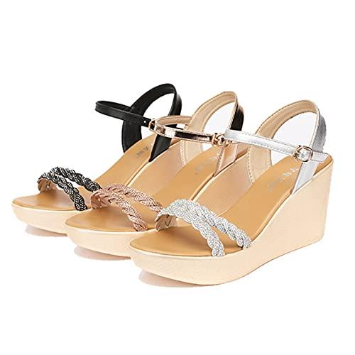 Señoras gladiador ocio boca de pez zapatos de verano con punta abierta plataforma de cuña sandalias de moda de playa de diamantes de imitación al aire libre formales