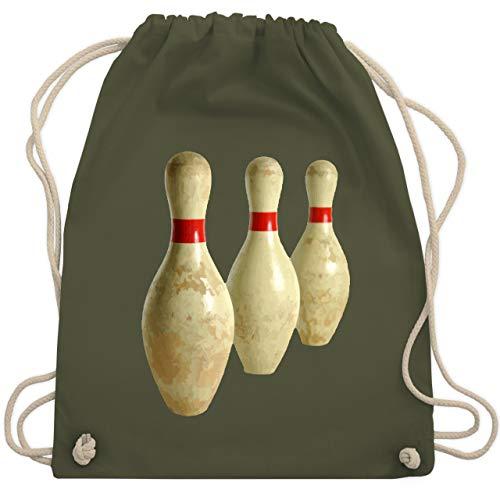 Shirtracer Bowling & Kegeln - Alte Pins Kegel Vintage - Unisize - Olivgrün - kegeln - WM110 - Turnbeutel und Stoffbeutel aus Baumwolle