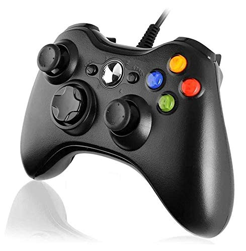 Game Controller Gamepad para Xbox 360 USB Game Controller Gamepad para Juegos con Cable con Botones De Hombros Joypad para Microsoft Xbox 360 Y PC con Windows,Negro