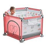 WJSW Bébé Jouets 124x66cm Puzzle Rose Parcs pour bébés avec Anneau de Traction Pratique et Aire de Jeu Stable clôture Meubles de pépinière Base