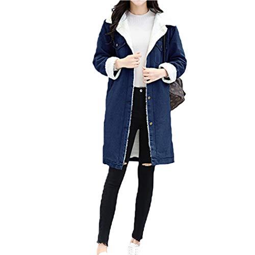 Queenhairs Giacca di Jeans Invernale da Donna Cappotto Imbottito in Velluto a Sezione Larga con Risvolto di Grandi Dimensioni più Lungo