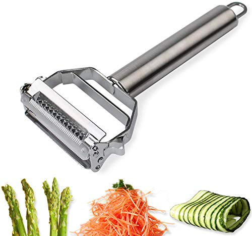 AnGeer Julienne Peeler, Stainless Steel Vegetable Peeler Double-Sided Blade Vegetable Cutter and Fruit Slicer Dual Blade Multifunction Kitchen Utensils