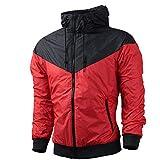 NOBRAND - Chaqueta cortavientos para hombre con capucha, Otoño-Invierno, Hombre, color rosso, tamaño Asian XXL