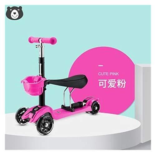 Youpin Patinete plegable de 3 ruedas intermitentes con asiento en T para niños de 1 a 6 años (color: rosa)