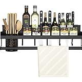 HYDL Colgador Utensilios Cocina Negro, Perforadora Multifunción Fácil de desmontar e Instalar con Gancho Rejilla para Macetas de Barandilla de Cocina Separada