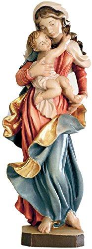 Ferrari & Arrighetti Imagen Virgen María con el Niño Jesús en Madera de Arce Pintada a Mano - 20 cm