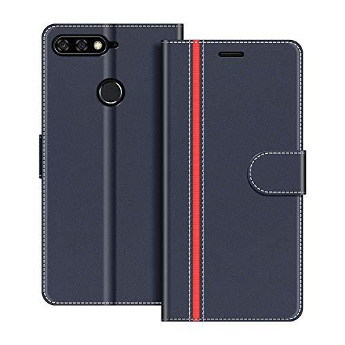 COODIO Handyhülle für Huawei Y7 2018 Handy Hülle, Huawei Y7 2018 Hülle Leder Handytasche für Honor 7C / Huawei Y7 2018 Klapphülle Tasche, Dunkel Blau/Rot