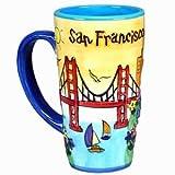 (506/18) cm San Francisco Java Kaffee Tasse handbemalt gelb Puff hoch sfmugola mit urheberrechtlich geschützt ca Magnet