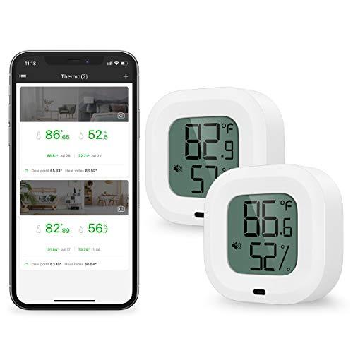 Brifit Bluetooth Thermometer Hygrometer, Kabelloses Thermometer Hygrometer mit App für iPhone/Andiord, Innen Thermometer mit Daten Export, Alarm-Funktion, für Wein, Zigarre, Babyzimmer (2 Stück)