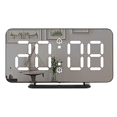 Kuashidai Reloj despertador digital con pantalla LED grande, 3 niveles de brillo, función de alarma dual + función de repetición USB cargador despertador, base desmontable reloj de repetición