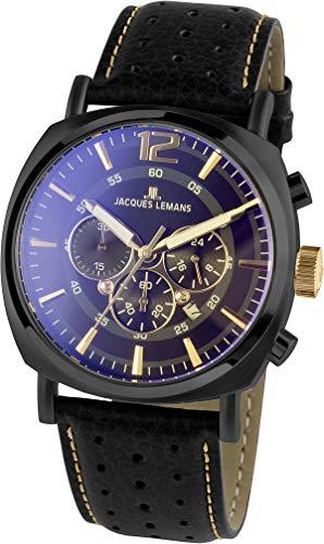 JACQUES LEMANS Herrenuhr Lugano Lederarmband massiv Edelstahl ip-Black Chronograph 1-1645.1O