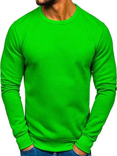 BOLF Herren Sweatshirt Pullover Sweater Pulli ohne Kapuze Langarmshirt Rundhalsausschnitt Farbvarianten Crew Neck Longsleeve Classic Fitness Basic Sport J.Style 2001 Grün(Hell) L [1A1]