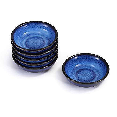 Urban Lifestyle 6 x Dipschälchen/Saucenschälchen/Dipschale Ayumi Rund Handglasiert (Blau)