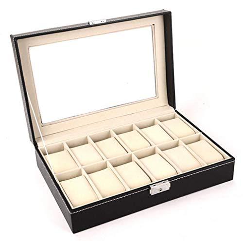 Uhrenbox für Herren, Uhren-Organizer, Schmuckkästchen, Aufbewahrungsbox, verschließbares Uhrengehäuse mit Glasoberfläche, Kunstleder