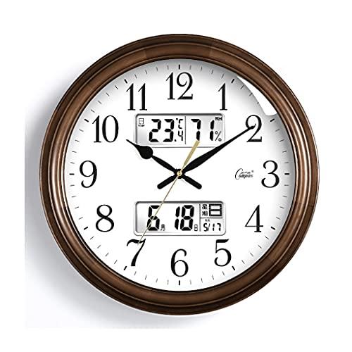 3190 Creativo Reloj de Pared, Silent Sin Sonido, marrón de 16 Pulgadas, Solemne Simple, Alimentado por batería, Adecuado para Oficina, Estudio, Sala de Estar Regalo (Color : Brown3)