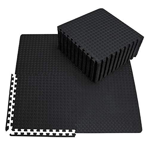 innhom Gym Flooring Gym Mats Exercise Mat for Floor Workout Mat Foam Floor Tiles for Home Gym Equipment Garage, 24 Pieces Black
