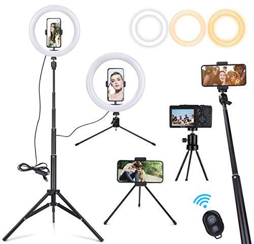 """Anillo de Luz LED Regulable 10""""con Soporte Trípode Fotográfica de Escritorio Palo Selfie, Luz de Anillo para Youtube TIK Tok Selfie Video Maquillaje Anillo de Luz para Transmisión en Vivo con 3 Color"""