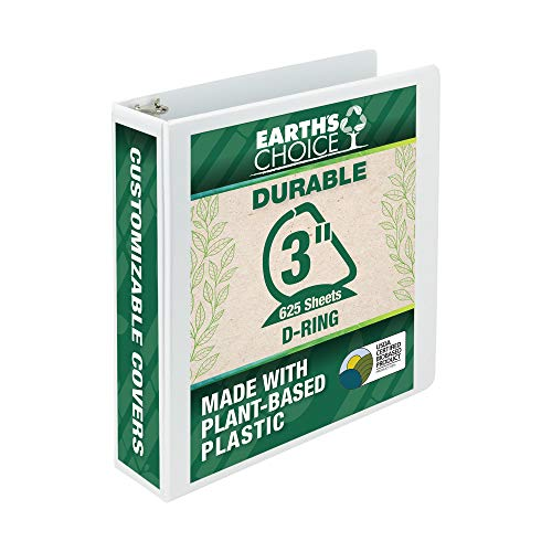 Samsill Earth's Choice Biobased 3 Ring View Binder, 3 Inch D-Ring, Up to 25% Plant Based Plastic, USDA Certified Biobased, Eco-Friendly, Customizable Cover, White