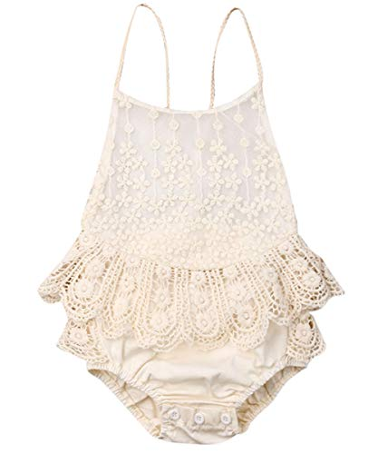 Newborn Infant Baby Girl Clothes Lace Halter Backless Jumpsuit Romper Bodysuit Sunsuit Outfits Set (Off White, 6-12 Months)