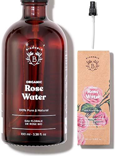 EAU DE ROSE BIO | Hydrolat de Rose de Damas 100% Pur & Naturel | Visage, Contour des Yeux, Corps, Cheveux | Rose Water | Bouteille en Verre + Spray (100ml)