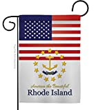 "Americana Home & Garden US Rhode Island Garden Flag Regional States American Territories Republic Country Particular Area House Decoration Banner Small Yard Gift Double-Sided, 13""x 18.5"", Made in USA"
