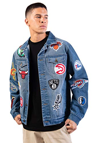 Ultra Game NBA Multi Team Mens Distressed Patch Jean Jacket, Denim, XX-Large