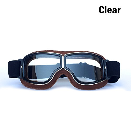 Cynemo Motorcycle Goggles Aviator Vintage Pilot Leather Sport Riding Glasses Scooter Motorcross ATV Off-Road Sunglasses Anti-Scratch Dust Proof Eyewear for Men Women Adult