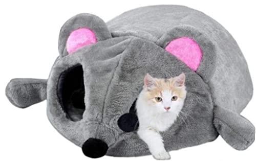 Ruluti 1 Unid Pet Fleece Cama Impermeable Mouse Modelo Cat Y Perro Cama Cama Detalleable Pequeño Y Medio Dog and Cat Durmiente Casa Cálida