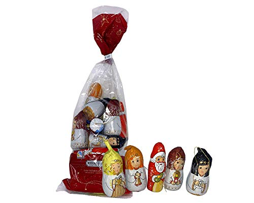 Chocolate Novelty Christmas Tree Decoration Bauble Mixed Chocolate Gift Bag by Riegelein - 240 g