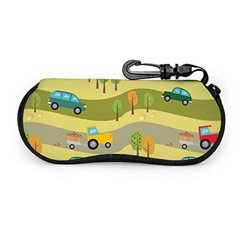 Tcerlcir Brillenetui Muster Autos Traktoren Wald Etuis Für Kinder Brillen Kinder Brillenetui Licht Tragbare Neopren Reißverschluss Weiche Tasche Mädchen Sonnenbrillenetui,17x8cm