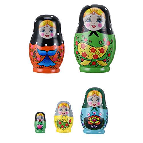 TOYANDONA 1 Juego de Muñecas de Anidación Rusas de Madera Juguetes de Apilamiento Rusos Matryoshka Divertido Muñecas de Anidación Apilables para Niños Muñecas de Anidación de Juguete