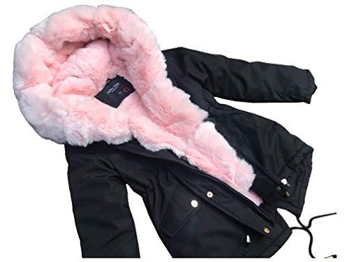 cocomini Winterjacke für Mädchen Parka schwarz warme Jacke mit Plüschfutter Expressversand mit DPD (152/158 (12Y))