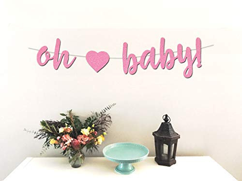 Oh Baby Banner - Perfect Decoration for Girl Baby Showers - Beautiful Sparkling Pink Glitter Cardstock - Larger Text for Better Visibility