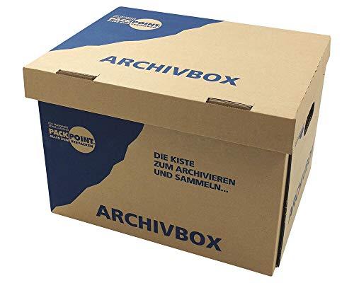 1-PACK Archivbox Lagerbox 400x320x290mm extrem stabil, bis 250kg stapelbar/Ausführung: Braun mit Beschriftung
