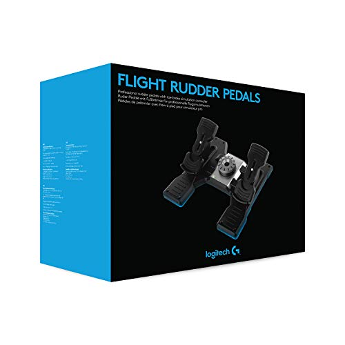Logitech G Saitek Pro Flight Rudder Pedals, Timón/Pedales para Vuelo y Freno para Simullación de Vuelo, Centrado Automático, Tensión Ajustable, USB, PC - Negro