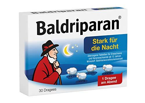 Baldriparan Stark für die Nacht, Pflanzliches Arzneimittel mit hochdosiertem Baldrianwurzel-Trockenextrakt, Bewährte Dragees bei nervös bedingten Schlafstörungen, 30 St.