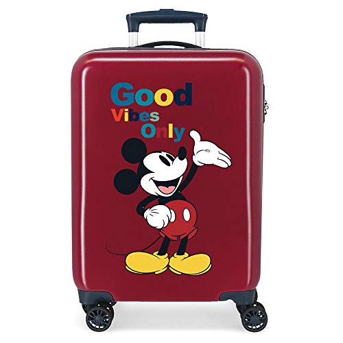 Disney Mickey Original Maleta de Cabina Rojo 38x55x20 cms Rígida ABS Cierre de combinación Lateral 34L 2 kgs 4 Ruedas Dobles Equipaje de Mano