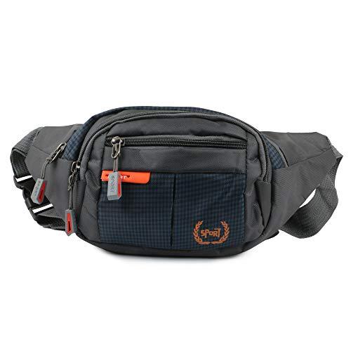 xcluma Waist Pack Travel Handy Hiking Zip Pouch Document Money Phone Belt Sport Bag Bum Bag for Men and Women Polyester (Grey)