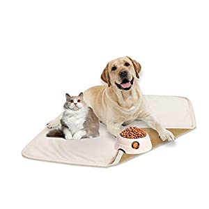 fuguitex Waterproof Dog Bed Cover Dog Pee Pad Dog Mat Dog Rug Carpet Washable Resuable Crystal Velvet Puppy Pad for Training 2 Pieces(20″ 30″,Cream+Sand)