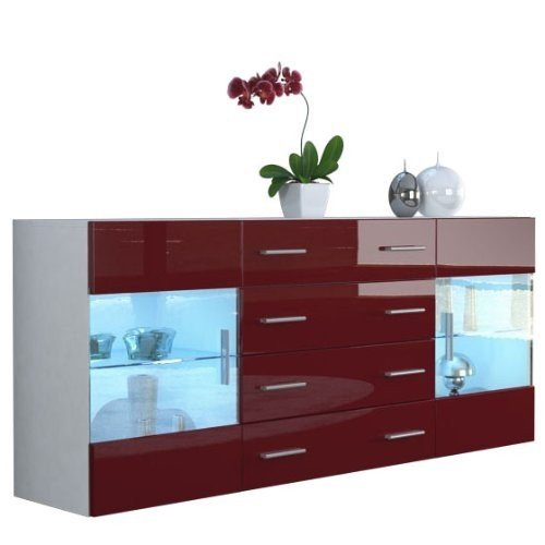 mobile credenza madia Open bianco bordeaux rosso lucido 166