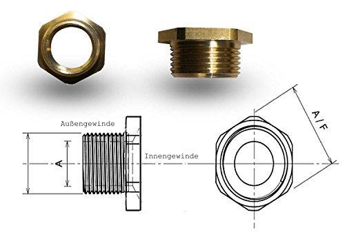 Adapter Reduzierstück Messing 3/4 Zoll Außengewinde auf 1/2 Zoll Innengewinde G3/4