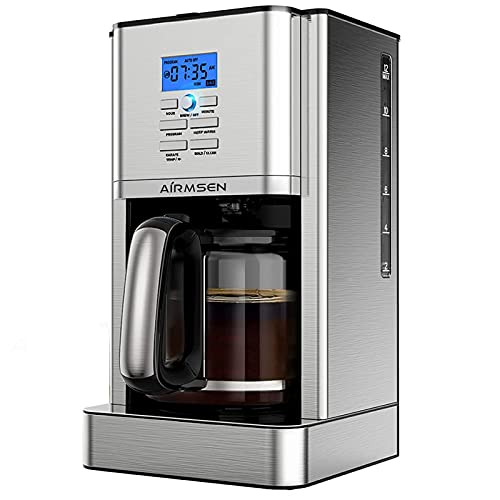 AIRMSEN Programmable Coffee Maker, 12 Cups Stainless Steel Coffee Machines, 4 Hours Keep Warming, Drip Coffee Maker with Permanent Coffee Filter, Brew Strength Control, Self-Cleaning Function