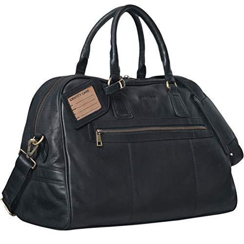 STILORD Vintage reistas 'Dakota' Weekender Tas in cabinegrootte gemaakt van echt buffelleer, Kleur:zwart
