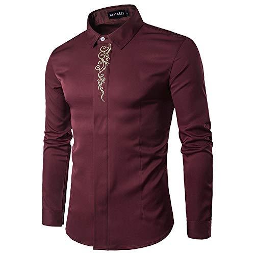 Camisas de Hombre Otoño Escote Europeo y Americano Camisa de Manga Larga Delgada Bordada Personalizada M